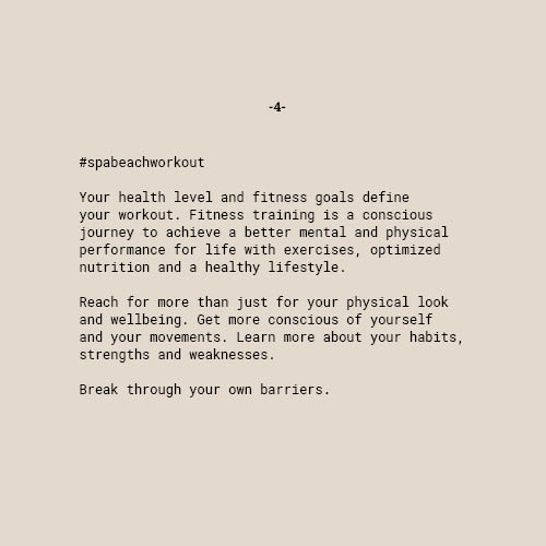 Your health level and fitness goals define your workout. Fitness training is a conscious journey to achieve a better mental and physical performance for life with exercises, optimized nutrition and a healthy lifestyle.